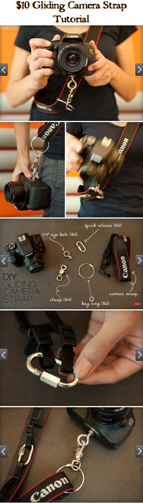 CAMERA ACCESSORIES :: $10 DIY Gliding Camera Strap (VIDEO) Tutorial :: These straps go for 60+ bucks. Learn how to make one for less than 10! Super easy! Now you can wear your camera across your body (not weighing on your neck) & have it at the ready w/ ease!   #cnet