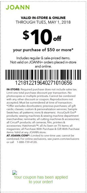 graphic about Big 5 $10 Off $30 Printable identified as Joann Coupon: $10 Off $50+ Printable Coupon codes Printable