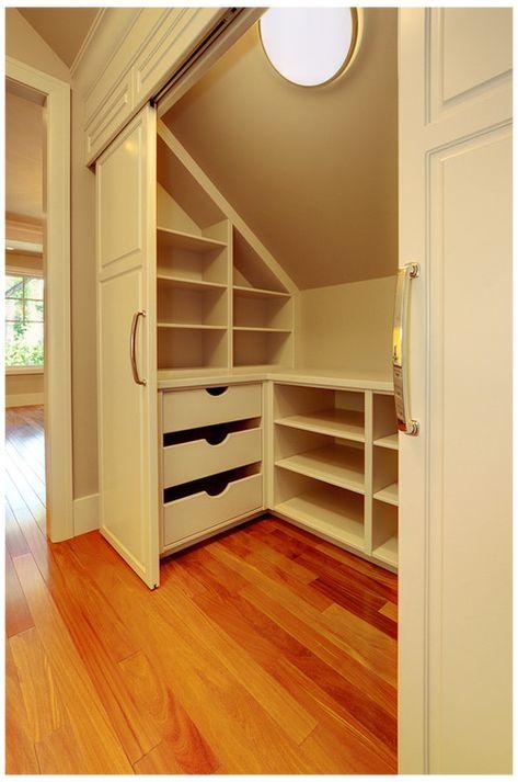 Attic Bedroom Closets, Attic Bedroom Storage, Attic Master Bedroom, Attic Bedroom Designs, Attic Closet, Bedroom Closet Design, Attic Bathroom, Closet Storage, Tiny Bedrooms