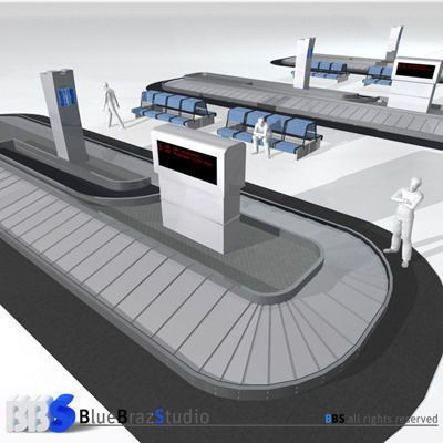 airport baggage carousel 3d model 3ds 1
