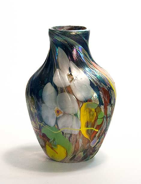 Contemporary Art Glass Vase Hand Blown And Decorated At The