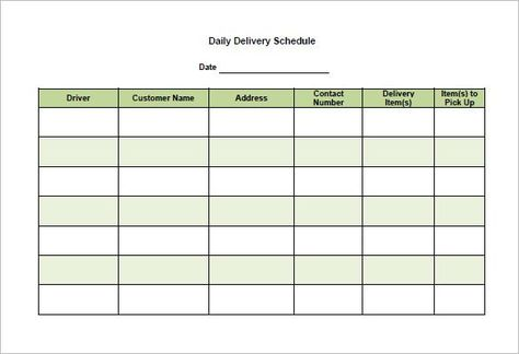 Delivery Schedule Template 8 Free Word Excel Pdf Format Template