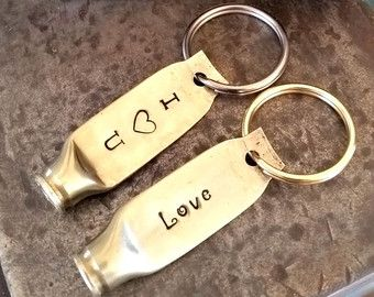 Bullet Keychain, Love Keychain, Bullet Jewelry, Bullet Casing, Bullet Shell, I Heart U, Keychain, Hand Stamped, Stamped Keychain, Brass, USA