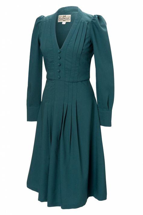 40s Jenny flared dress in Vintage green