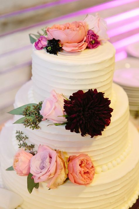 White Wedding Cake With Florals