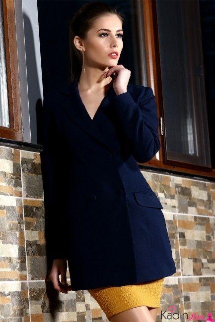 Tozlu Koyu Lacivert Cepli Uzun Bayan Ceket Modelleri Kadinlive Com Basortusu Modasi Moda Stilleri Giyim