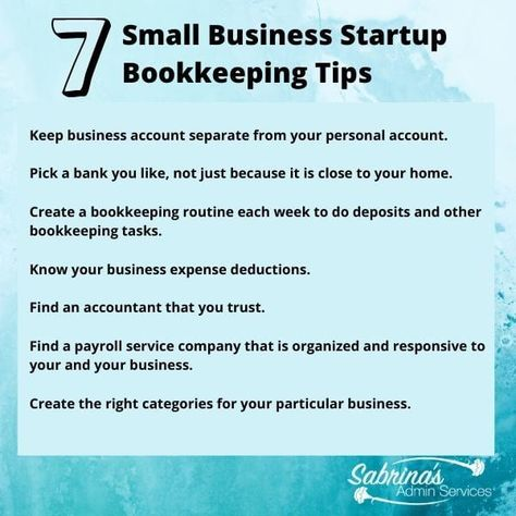 7 Startup Bookkeeping Tips You Need to Know   Sabrina's Admin Services