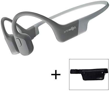 Amazon Com Aftershokz Aeropex Open Ear Wireless Bone Conduction Headphones With Sport Belt Lunar Grey Home Audio Theater Headphones Conduction Sports Belt
