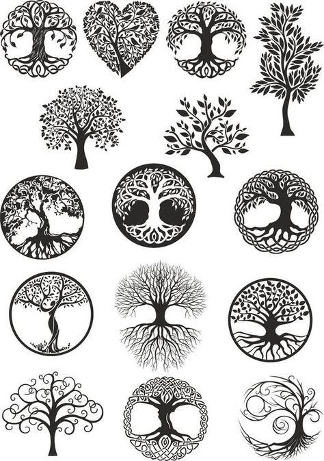 Vector ornament, decorative Celtic tree.  Laser cut files SVG, DXF, CDR, vector plans Glowforge file