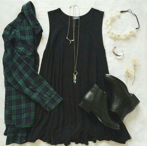 Love the dress and flannel pairing