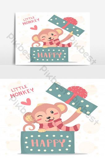 Happy Smile Little Monkey With Red Scarf Pop Up In A Gift Box Flat Vector Cute Cartoon Png Images Ai Free Download Pikbest Merry Christmas Poster Christmas Poster Little Monkeys