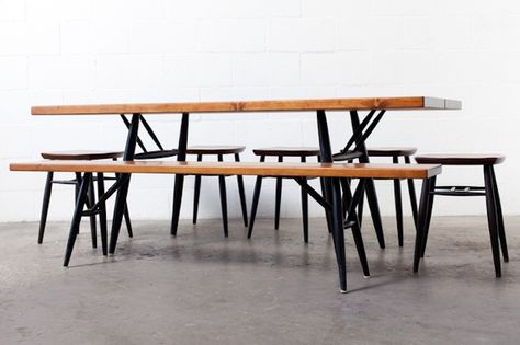 Miraculous Mid Century Teak Picnic Bench Table Stools Garden Dailytribune Chair Design For Home Dailytribuneorg
