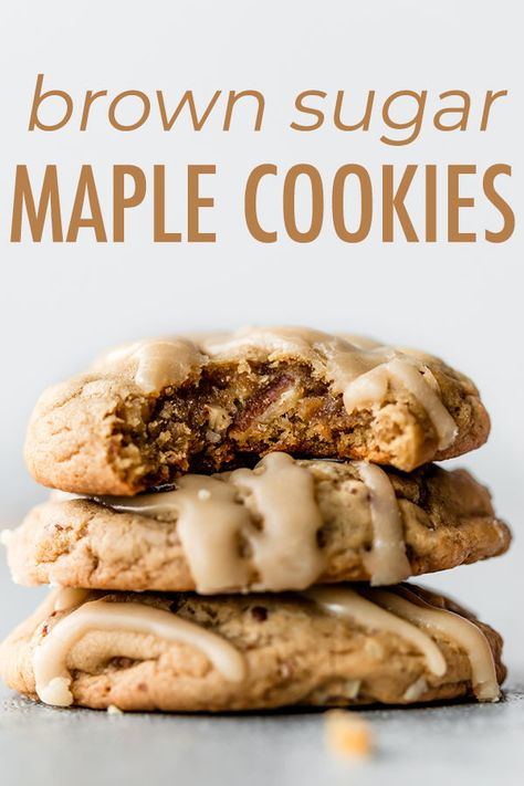 With crisp edges and mega chewy centers, these maple brown sugar cookies are a new fall favorite dessert. Top with creamy maple icing for the ultimate flavorful cookie. Recipe on sallysbakingaddic… - Maple Brown Sugar Cookies Dessert Dips, Köstliche Desserts, Best Dessert Recipes, Fall Recipes, Easy Yummy Desserts, Simple Recipes, Dinner Recipes, Maple Cookies, Brown Sugar Cookies