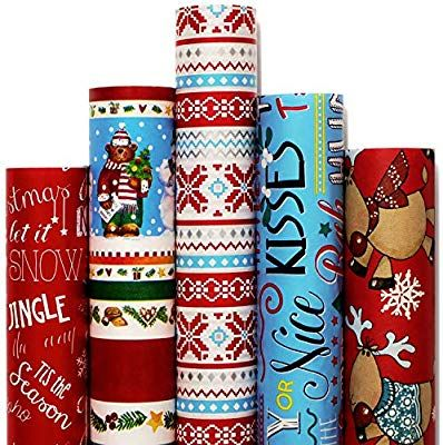Amazon Com Christmas Gift Wrapping Paper White Red Blue With Pattern 5 Roll 30 Inch X 10 Christmas Gift Wrapping Paper Xmas Wrapping Paper Christmas Wrapping