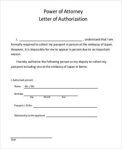 Power Attorney Letter Sample Authorization