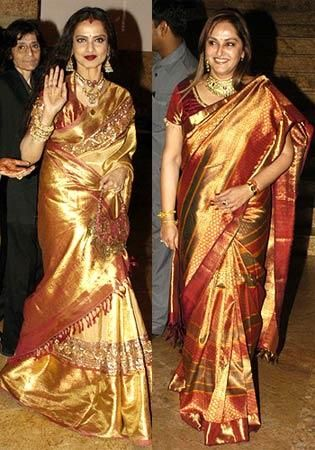 Rekha in golden color saree Rekha latest photos in saree