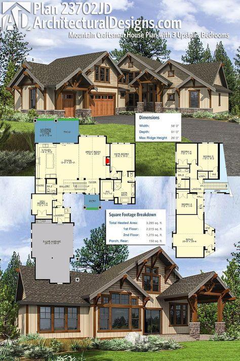 Plan 23702jd Mountain Craftsman House Plan With 3 Upstairs Bedrooms Craftsman House Plans Craftsman House Craftsman House Plan