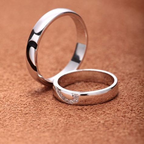 a23613b42c Unique 925 Sterling Silver White Gold Plated Lover's Heart Couple Rings(Price  for One Pair) - Love Rings