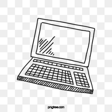Hand Drawn Black And White Line Drawing Laptop Illustration Hand Painted Black Line Drawing Png Transparent Clipart Image And Psd File For Free Download Black And White Lines Line Drawing Clipart