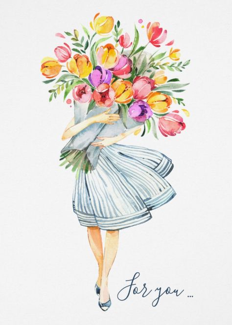 Tulips Bouquet For You With Love Card Spring by JunkyDotCom - Colorful handpainted watercolor bouquet of tulips carried by a young woman.