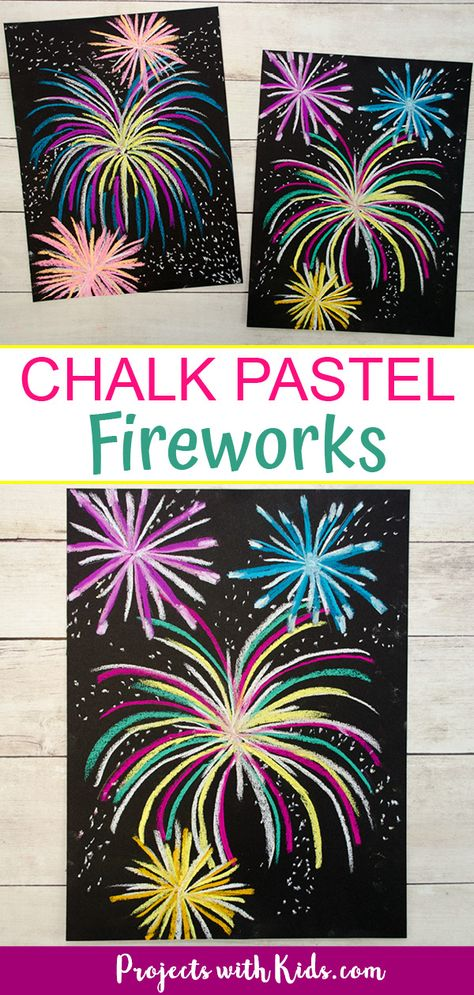 Festive Chalk Pastel Fireworks Art Project Make this brightly colored chalk pastel fireworks art for a fun and easy art project kids will love! Perfect for New Years, the of July, or Canada Day. Fireworks Design, Fireworks Art, New Year Fireworks, Diwali Fireworks, Fireworks Wallpaper, Fireworks Background, How To Draw Fireworks, Fireworks Craft For Kids, Firework Nail Art