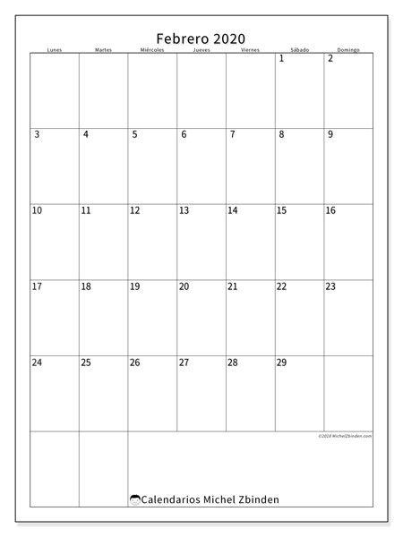 Calendario Agenda 2020 Para Imprimir.Calendario Febrero 2020 52ld Agenda Calendario Julio