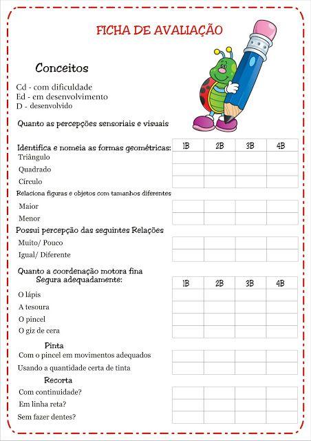 Fichas De Avaliacao E Conceitos Educacao Infantil Ficha De