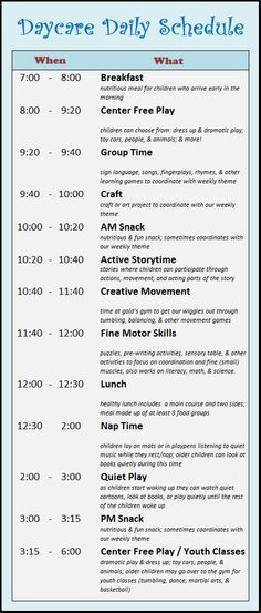 Daycare Schedule Daycare Pinterest Daycare ideas, Childcare - best of 8 child care philosophy statement examples