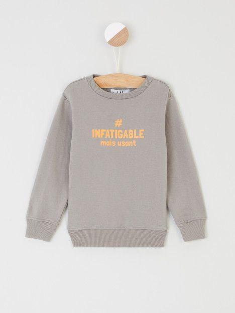 Sweatshirt Avec Imprime Devant Lh Gris Achat Sweatshirt Avec