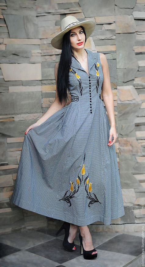 e02d91510bb6 Платья ручной работы. Ярмарка Мастеров - ручная работа. Купить Вышитое летнее  платье со шляпой