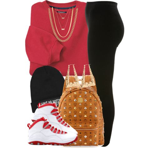 A fashion look from January 2014 featuring INC International Concepts sweatshirts, Miss Selfridge leggings and MCM backpacks. Browse and shop related looks.