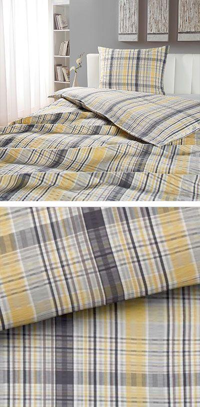 Gelbe Bettwasche Mit Grauen Streifen 140x200 Bettwasche Gelbe Bettwasche Bett Ideen