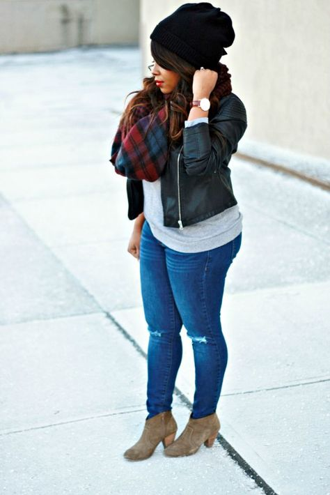 Curvy petite fashion · booties, jeans, tee, black beanie and leather jacket, with a blue and