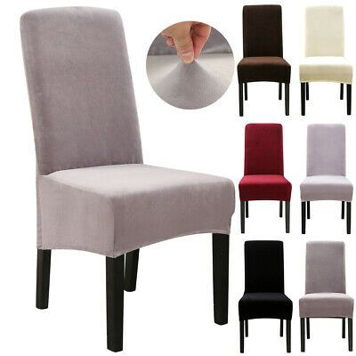 1 4 6 10 Pack Velvet Spandex Stretch Chair Covers Dining Room Wedding Slipcovers Ebay Slipcovers For Chairs Dining Chair Covers Slipcovers Velvet Dining Chairs
