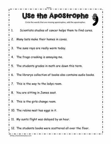 Apostrophe Worksheet Nouns Worksheet