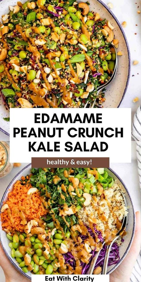This edamame peanut crunch salad is healthy, easy to make and perfect for meal prep! With quinoa, kale, lots of fresh veggies and a simple peanut sauce dressing, this is bound to be a favorite. #edamamesalad