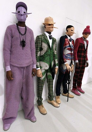 Gimp masks, skirts, Y-fronts and capes - it was all there at Milan and Paris men's fashion weeks. We're not sure we can find the right words for this mish mash of mousey madness at Walter Van Beirendonck.