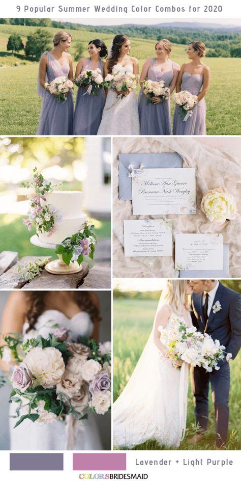 9 Popular Summer Wedding Color Combos for 2020- Lavender + Light Purple. #colsbm #weddings #weddingideas #bridesmaiddresses #summerwedding #lavenderwedding b1436