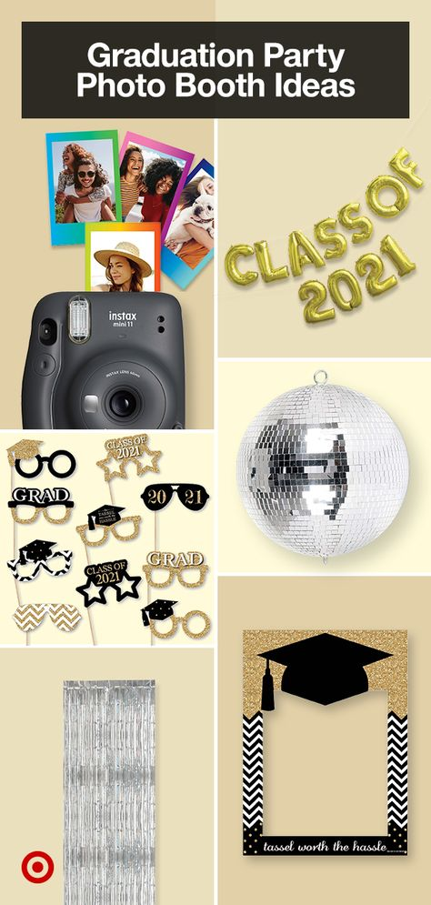 Plan a backyard graduation party with decorations, snacks  card box ideas. Add cute photo ops for a photo booth that doubles as a guest book.