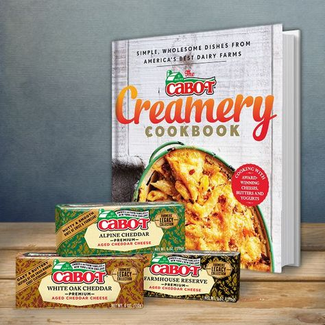 We are so, so excited to tell you about the first-ever Cabot Creamery Cookbook! This beautiful book shares some truly wonderful recipes and stories from the farm families who own Cabot who have always understood that good food begins with great ingredients.   On February 10, 2015, the cookbook will be available wherever books are sold.   Can't wait? Pre-order a copy today at cabotcheese.coop/cookbook