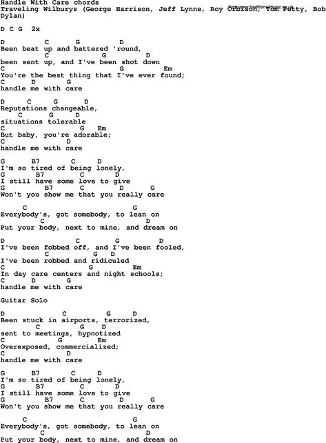 Traveling Wilburys Song Lyrics With Guitar Chords For Handle With