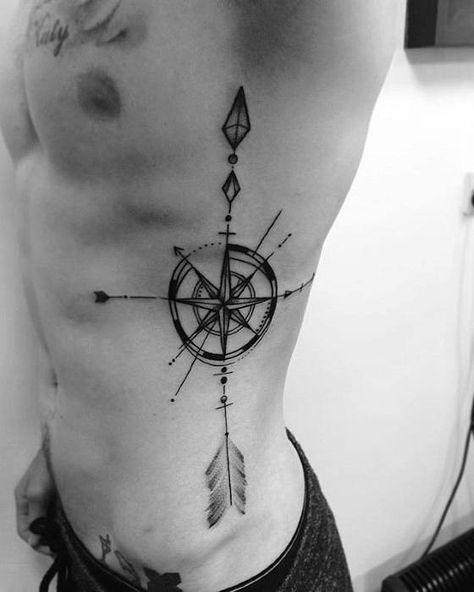 Amazing Mens Geometric Compass Tattoo Designs