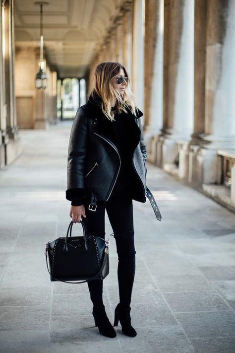 New black faux leather aviator shearling warm women winter coat pilot jacket