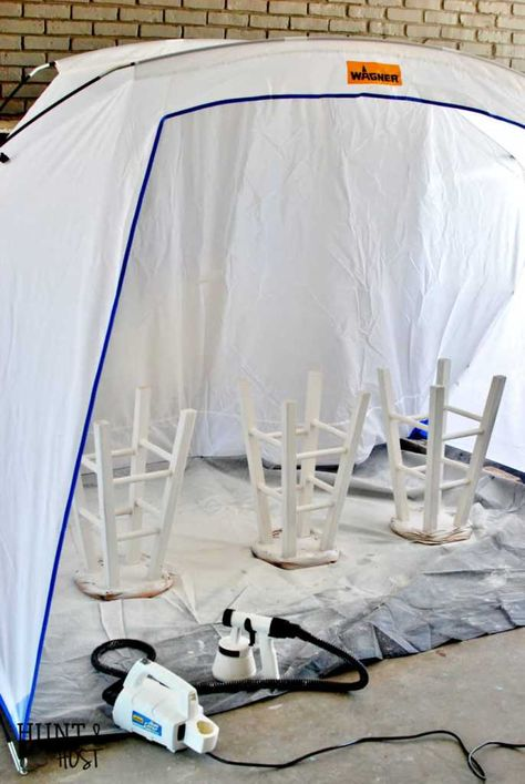 Cheap To Chic Bar Stool Makeover With My New Spray Tent Bar