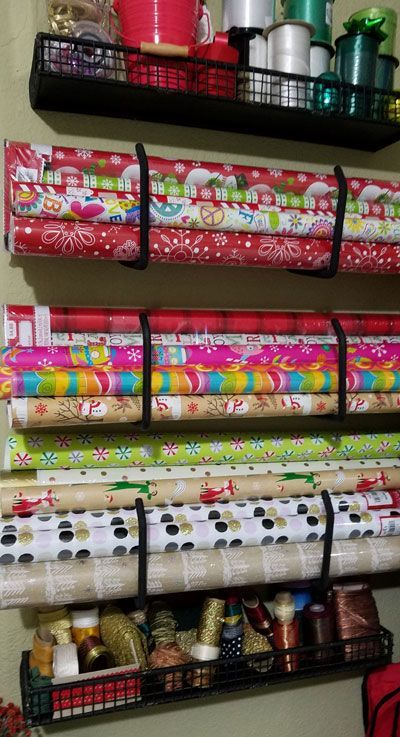 Thrifty Storage Ideas For Gift Wrap And Ribbon Wrapping Paper Storage Holiday Storage Craft Room Storage