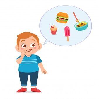 Feliz Linda Chica Come Comida Saludable Vector Premium Comida Chatarra Dibujos Para Niños Comida