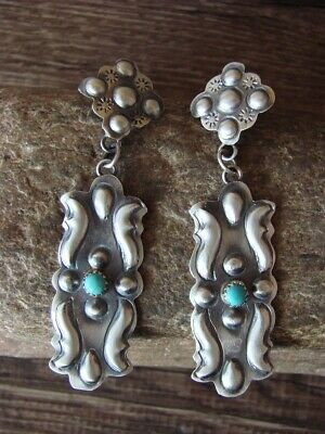 Navajo Turquoise Feather Earrings Sterling Silver Southwest Jewelry Signed Native American TIM YAZZIE