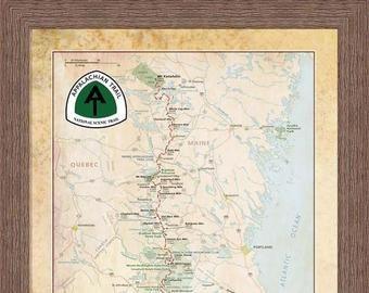 Appalachian Trail Map Etsy Pushpin Travel Map Large World Map Canvas World Map Canvas