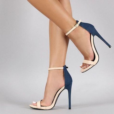 Beige and Denim Ankle Strap Sandals 4 Inch Heels