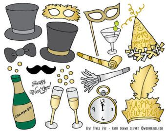 Doodle Retro Objects Hand Drawn Clip Art Set Trendy Retro Clipart Commercial Use Digital Download Vector Graphics Instant Download Clip Art New Years Eve Party Clipart